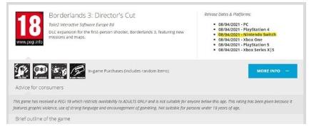 无主之地3导演剪辑版或将登陆Switch平台