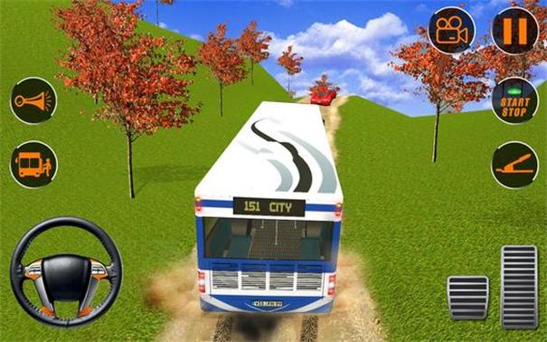 旅游巴士山司机驾驶场景