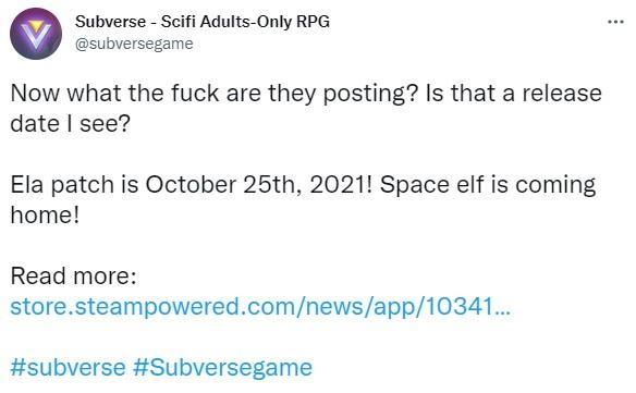 Subverse新大型更新10月25日发布 加入新内容