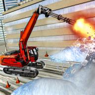 雪地挖掘機救援行動