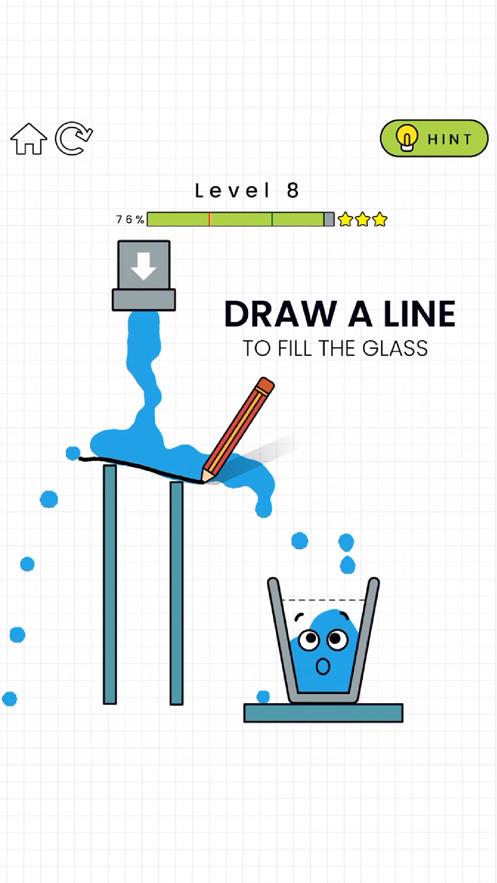 抖音上画线让水杯装满的游戏截图1